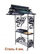 Мангал с крышей разборный- ДРАКОН 4мм.(стенки и дно сталь 4 мм.)-
